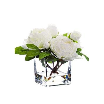 "White Peony Silk Flower Arrangement in Glass Vase - 9"" Tall"