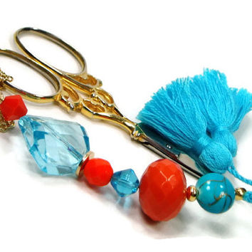 Scissor Fob Aqua Orange Scissor Minder Needlepoint Beaded