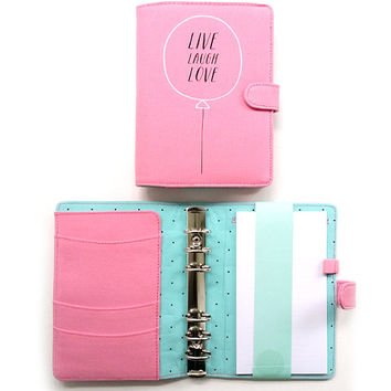 Pink Personal Planner A6 Size. Filofax, Planner, Stationary Diary, Organizer Scheduler.
