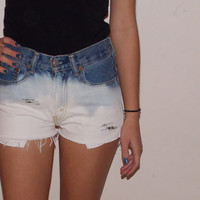 High Waisted Distressed Ombre Denim Jean Shorts Made to Order