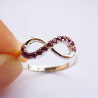 Sterling Silver Infinity Ring with Purple Authentic Garnet Engravable