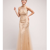 Gold Beaded Lace Halter Dress