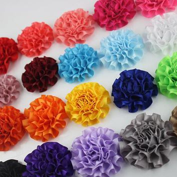 2016 newborn DIY Flowers fabric flowers without headbands Boutique Satin Rose Flowers kid Hair Accessories 20pcs/lot