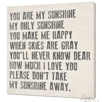 You Are My Sunshine Canvas Wall Art 20 x 20 Your by ScriptandStyle