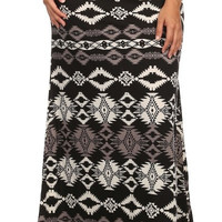 Tribal Print Plus Size Maxi Skirt