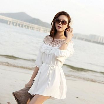 Fashion 3/4 Sleeve Hollow Out Lace Splicing Beach Dress