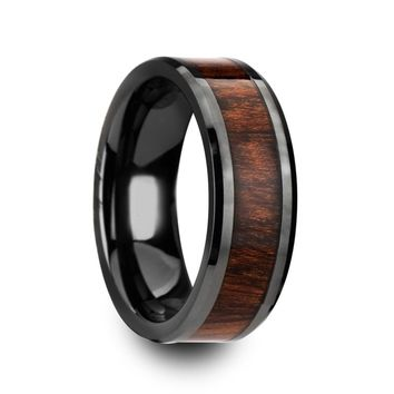 Men's Black Ceramic Wedding Band With Real Carpathian Wood Inlay 8mm