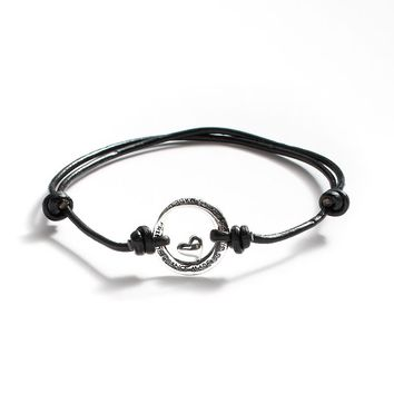 Silver Plated & Black Leather ''Sisters'' Circle Link Bracelet (Brass/Black/Silver)