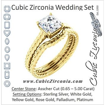 CZ Wedding Set, featuring The Florence engagement ring (Customizable Cathedral-set Asscher Cut Solitaire with Vintage Braided Metal Band)
