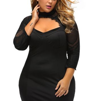 Black Sheer Lace Cutout Long Sleeve Curvy Dress