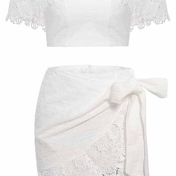 Talk Back Lace Short Sleeve Off The Shoulder Crop Top Wrap Tie Skirt Two Piece Mini Dress - 2 Colors Available