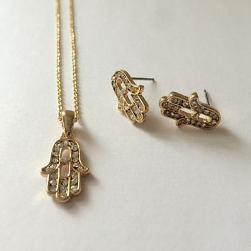 Hamsa Crystal Gold Necklace/Earrings Set