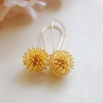Gold Dandelion Earrings, 16K Gold Plated Wire Wrapped Ball Dangle Earrings, Gold Drop Earrings. Dandelion Jewelry, Christmas Gift