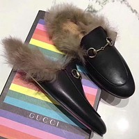 GUCCI Autumn and winter new fashion embroidery bee tiger snake flower keep warm women single shoes slippers