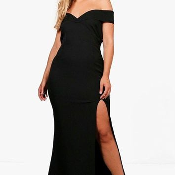 Boohoo Womens Plus Size Marie Off The Shoulder Bodycon Maxi Dress