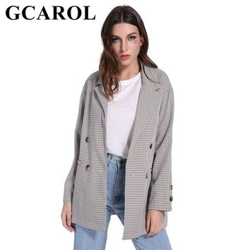 GCAROL Fall Winter Deep Notched Collar Women Plaid Blazer Double Breasted 2 Pockets Fashion Oversize OL Suit Outwear