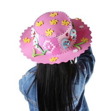 Creative Flowers Stars Patterns EVA Foam Paper Weaving Hat  Kindergarten Art Children DIY Craft Toys Party DIY Decorations Gifts