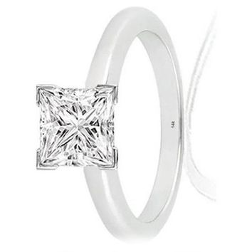 r.1/3 Carat 14K White Gold Princess Cut V Prong Solitaire Diamond Engagement Ring (0.3 Carat H-I Color VS1-VS2 Clarity)