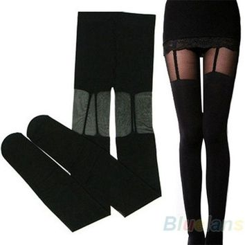 ONETOW Fashion Stretchy Stockings Sweety Black Leggings Socks/w Decorated Garters, sexy = 1932779332