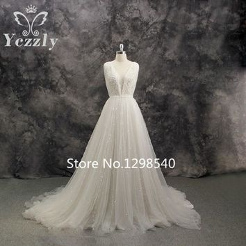 Real Photos Simple A-line V-neck Appliques Pearls Sequins Long Wedding Dresses 2017 Sexy Backless Beach Wedding Dress RW274