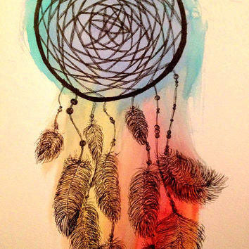 "Dream catcher"" original watercolor/ink by Alexandria Ramos"