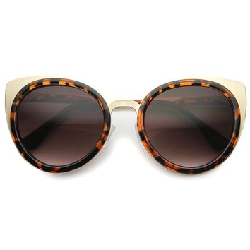 Women's Large Round Indie Laser Cut Cat Eye Sunglasses 9963