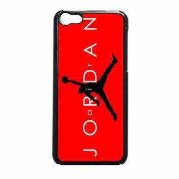 CREYUG7 Jordan Black Logo Red Background13 iPhone 5c Case