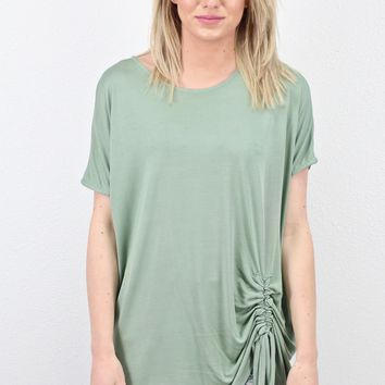 Short Sleeve Drawstring Front Modal Basic {Sage}