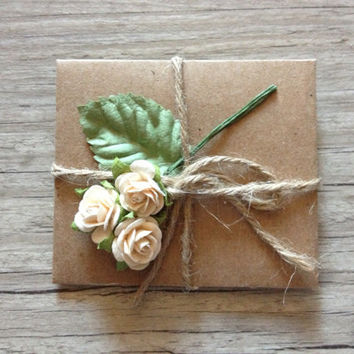 ADD FLOWERS to your SMALL envelope - for small envelope - gift idea birthday celebration anniversary - beige brown rustic-europeanstreetteam