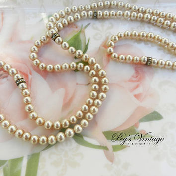 Faux Pearl Necklace, Vintage Pearl Rhinestone Necklace Single Strand Glamorous Pearl Necklace