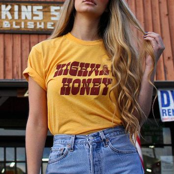 Highway Honey Tee- Vintage tshirt- 70s- 80s- graphic tee- Womens tshirt- made in usa- biker tshirt- tee- gold tee
