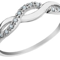 Infinity Diamond Promise Ring in 10K White Gold, Size 7