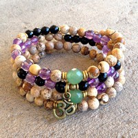 Jasper, Aventurine, Onyx and Amethyst Gemstone 108 Bead Mala Wrap Bracelet Or Necklace with Om Charm
