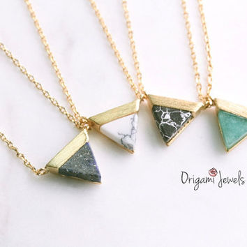Triangle Gemstone Necklace, pink stone necklace, aquamarine gemstone,marble necklace, stone Jewelry, simple gold necklace, mother's day gift