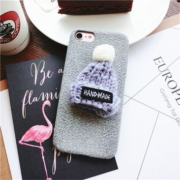 Fashion Cases For IPhone 6 6S Case PC Warm Winter Coque Funda Case For IPhone 8 7 Plus 6 X Girl Cover