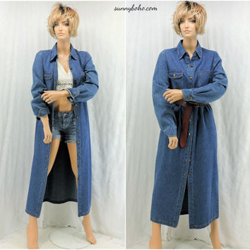 cab835af1c0 90s denim duster  jean dress size M long blue jean coat denim lo