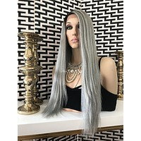 Gray Human Hair Blend Multi Parting Lace Front Wig - Political