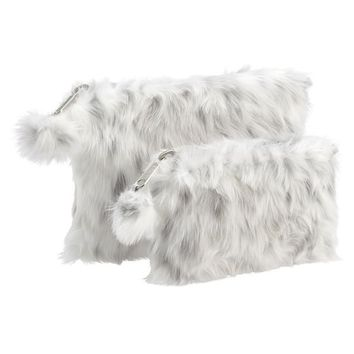 Faux Fur Grey Leopard Beauty Pouches, Set of 2