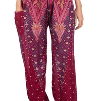 Boho Harem Yoga Pants - Peacock Burgundy