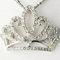 Alilang Silvery Tone Clear Rhinestones Princess Tiara Crown Pendant Necklace