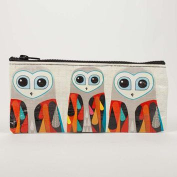 Owls Blue Q Pencil/Accessory Case with 4 Pencils.  Carrying Case.