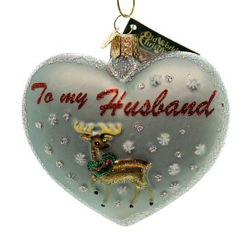 Old World Christmas SPOUSE HEART Glass Ornament Heart Love 30049 Husband