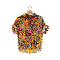 vintage button up shirt. slouchy short sleeved top. floral abstract shirt. rayon shirt.