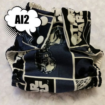 Navy Blue Star Wars All In Two (AI2) Cloth Diaper - One-Size or Newborn, S, M, L