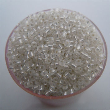Free Shipping Sale White Silver Color Shining 1000Pcs 2mm Czech Glass Seed Spacer Beads Jewelry Making DIY Pick 46 Colors