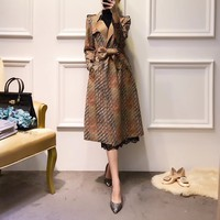 """Valentino"" Women Fashion Retro Multicolor Print Suede Long Sleeve Cardigan Medium Long Section Bandage Lapel Windbreaker Coat"