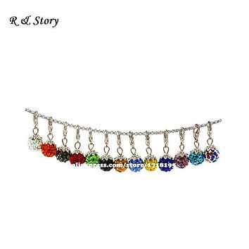 Shamballa Crystal Ball Charm Dangles will clip onto any brand of Bracelet Necklaces, Gift Ideas for Women LFD_040