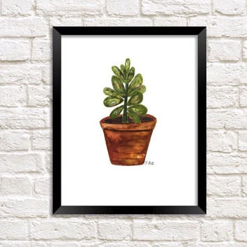 Succulent Painting, watercolor Cactus print, plant painting, Cactus wall art, Kitchen art print, Southwest decor, Kitchen illustration