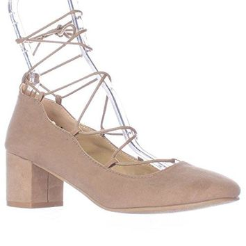 Wanted Shoes Womens Abby Lace Up Ankle Tie Chunky Heel Pump