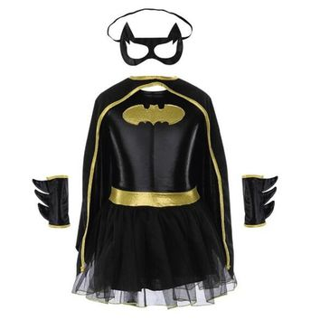 Girls Batman Halloween Costumes Fancy Tutu Dress Batgirl Kids Costume Child Batman Outfits Party Dressing Up Superhero Cosplay